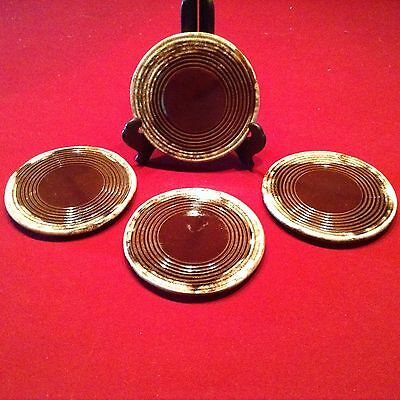 """Set of (4) 6"""" McCoy Pottery 1052 Brown Drip Trivets"""