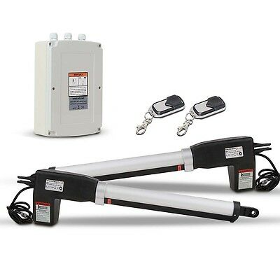 NEW 24V DC 500kg Capacity Automatic 2 Arm Swing Gate Opener w/ 2 Remote Controls