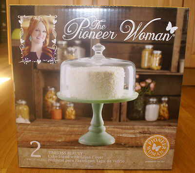 """NEW Pioneer Woman Jadeite Pedestal Cake Plate with Glass Dome Lid 10"""""""