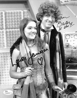 """(SSG) TOM BAKER & LOUISE JAMESON Signed 8X10 """"Doctor Who"""" Photo with a JSA COA"""