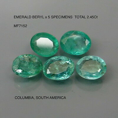 EMERALD BERYL x 5 SPECIMENS NATURAL MINED TOTAL 2.45Ct MF7152