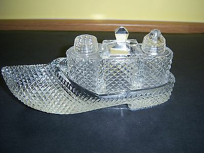Vintage Cut Glass Condiment Set In The Shape Of A Clog