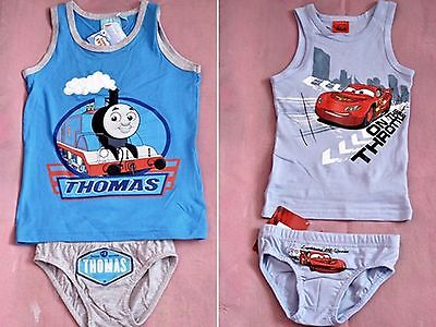 Boys Vest and Pants Set Disney Characters  Briefs Vests 2-3, 7-8 years