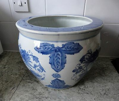 Lovely Large Vintage Heavy Blue & White Ceramic Chinese Jardiniere / Planter