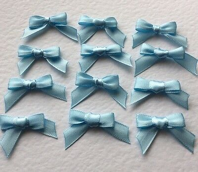 30 Baby Blue 10mm Ribbon bows �� for card making/scrap booking help charity