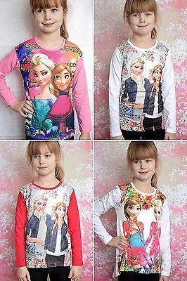 Girls Elsa and Anna top long sleeve cropped long back size 5-12 years