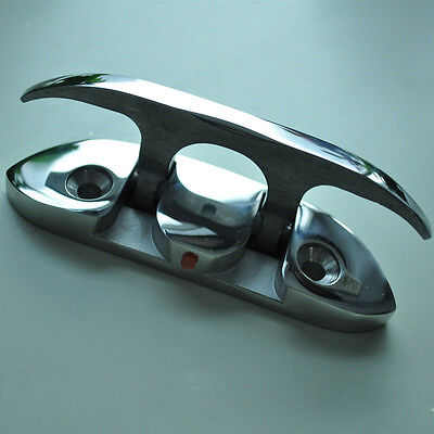 """Boat Flip Up Folding Pull Up Cleat - 4-1/2"""" 316 Flush Mount  Stainless Steel"""