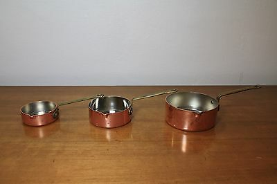 Vintage Set of 3 Copper Measuring Cups with Brass Handles