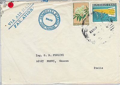 58611  -  HAITI - POSTAL HISTORY: COVER to ITALY - 1968 - FLOWERS / Road safety