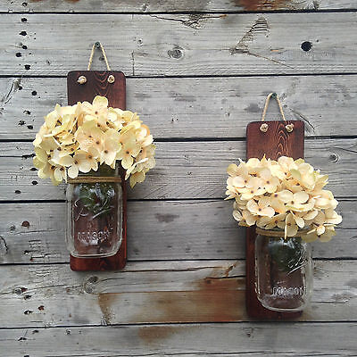 Set of Two Rustic Mason Jar Wall Sconce Country Decor Wall Hanging Hanging Vase
