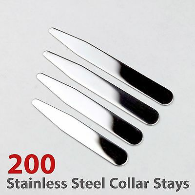 "200pcs size 2.2"", 2.5"", 2.75"" and 3"" Glossy Finish Stainless Steel Collar Stays"