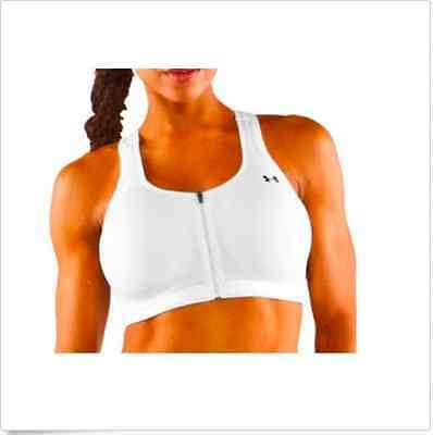 NWT UNDER ARMOUR Protegee High Impact Front Zip White Women's Sports Bra 38A