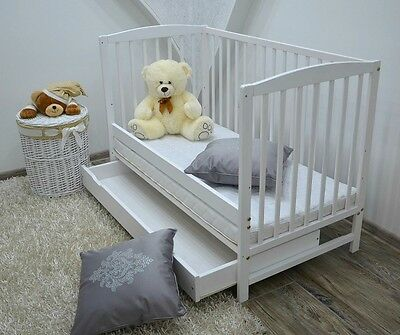 BABY Cot Bed Wood White Walnut Mattress Drawer Converts to Junior Toddler