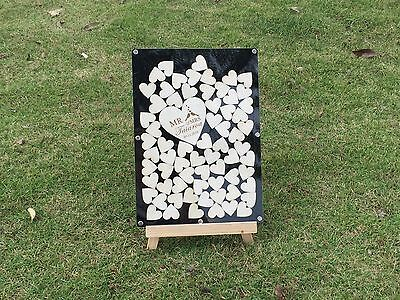Personalized free 60 hearts Acrylic Wedding Guestbook alternative,drop box frame