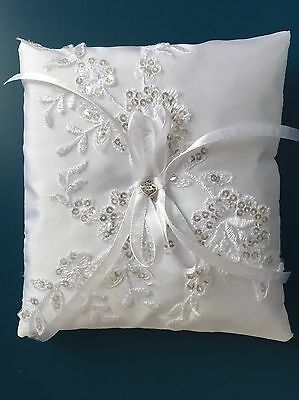 Sparkly White Lace Wedding Ring Pillow Cushion Holder Bearer Unique Handmade