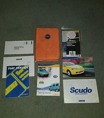 Fiat Scudo 2002 owner handbook & orange wallet - aftercare & fiatcare documents