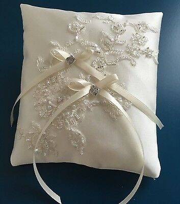 Sparkly Beaded Ivory Lace Wedding Ring Pillow Cushion Holder Bearer Hearts