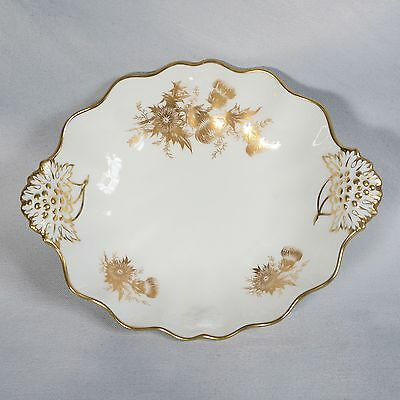 Hammersley Handled Dish - White Decorated With Gold Thistles