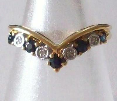 Vintage 1970S Beautiful Genuine Sapphire & Crystal Silver Gold Wishbone Ring