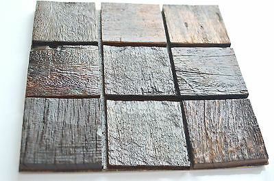 Wood Mosaic Tile Wall Decorations, Rustic Wall Panel, Wall Decor, Wall Covering