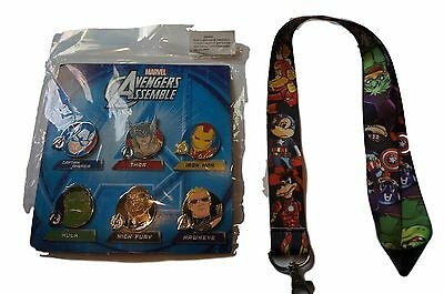 New Mickey Mouse Marvel Disney World Pin Trading Lot Lanyard with Booster Set