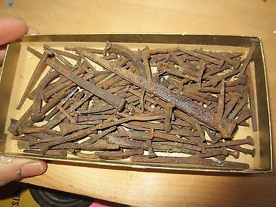 antique nails used rusty box lot various sizes vtg old