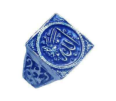 New Blue Allah Islamic Muslim Real Sterling Silver 925 Arabic Ring Islam Jewelry