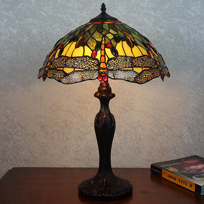 """16"""" Amber & Green Dragonfly Art Deco Tiffany Style Stained Glass Table Lamp"""