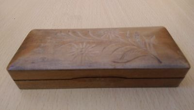 Fantastic vintage four compartment wooden stamp box carved in Black Forest style