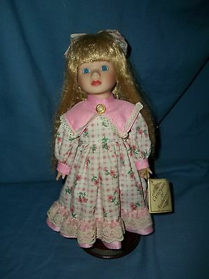 Very Pretty Soft Expressions Blonde Hair Blue Eyed Porcelain Doll In Pink W/ Tag