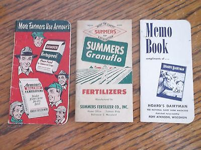 3 Vintage 1953-1963  Pocket Notebooks Armour Summers Hoard's Dairy ***read***