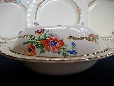 GRINDLEY THE WAVERLEY (c.1936+)-COVERED SERVING DISH- FLORAL! EXCELLENT! GILT!
