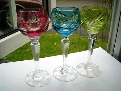 3 sherry liqueur glasses coloured & clear hand cut star & grape design mid 20thC