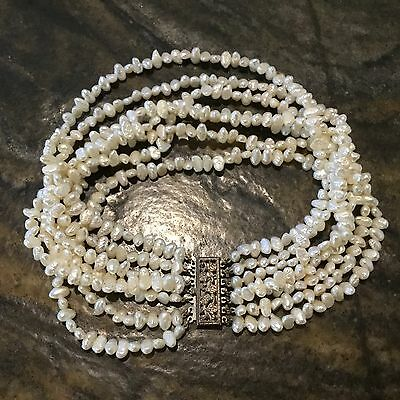 Stunning VICTORIAN Vintage 7-Strand Natural Pearl & Sterling Silver Necklace 12""