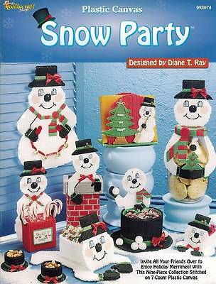 Snow Party 9 Snowman Plastic Canvas PATTERNS Winter Holiday Christmas Basket