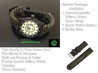 S FORCES Military Green Paracord Survival Compass Bracelet Fire Whistle Watch