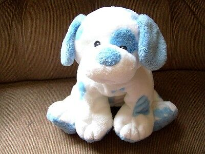 """8"""" TY Pluffies Blue & White BABY PUPS Puppy Tylux Plush 2002 Lovey Euc"""
