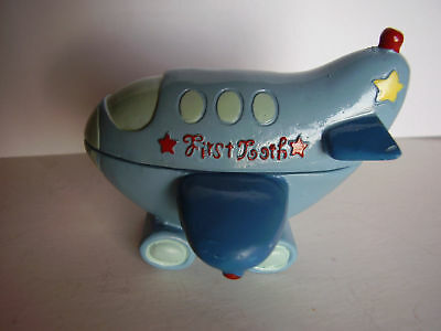 """Handmade Tooth Fairy Blue Ceramic Box Airplane Shaped Inscription """"first tooth"""""""