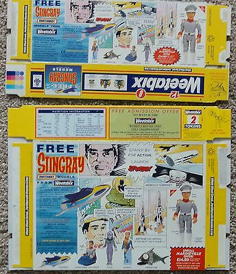 1993 x 2 GERRY ANDERSON STINGRAY WEETABOX CEREAL PACKETS MATCHBOX TOYS