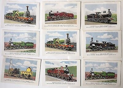 Railway Engine Collectors Cards x9 Tally - Rocket & Others