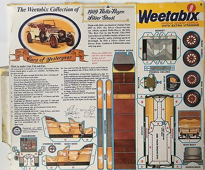 1977 Weetabix Cereal 1909 Rolls Royce Silver Ghost Model Cut Out Car Packet Back