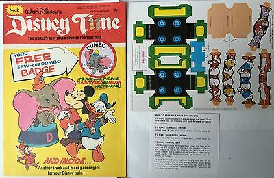 1977 DISNEY TIME COMIC ISSUE No 2  FREE GIFT TRAIN CARD  & DUMBO PATCH