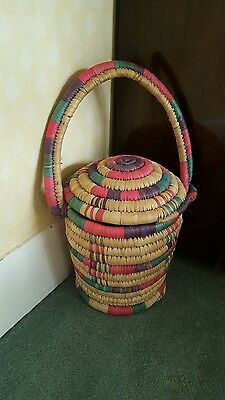 Beautiful African Hand Woven Round Shape Kenyan Lined Basket with a Lid & Handle
