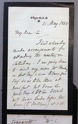 Robert Rolfe, Lord Cranworth, Lord Chancellor, ALS, SIGNED,  Penny Red, 1868