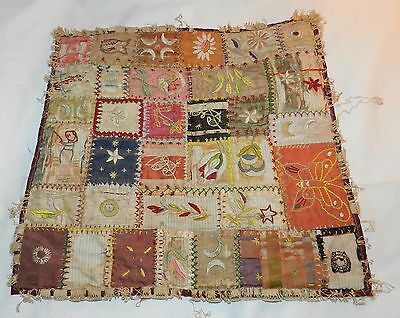 Antique Quilt Sampler with Embroidered Pieces from other Textiles
