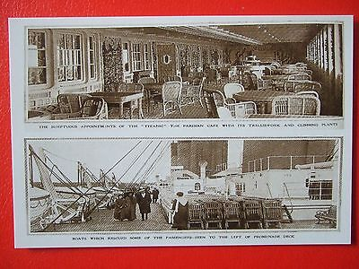 R M S Titanic Postcard -' The Parisian Cafe And Prominade  Deck