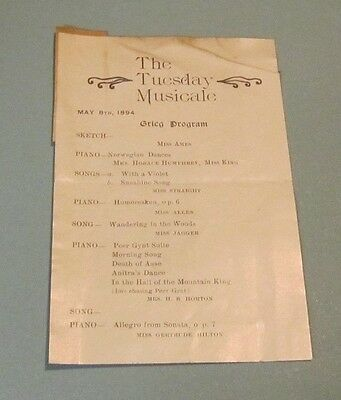 May 1894 Chicago The Tuesday Musicale Grieg Concert Program Gertrude Hilton