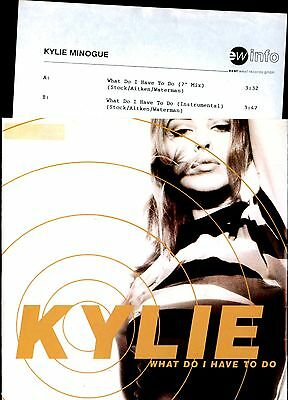"Vinyl Single 7"" – Kylie Minogue - What Do Ihave To Do - 1991 – Info Sheet"