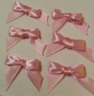 20 Pretty Baby Pink 10mm Ribbon bows �� for card making/scrap booking -charity
