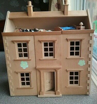 Lovely ELC Wooden doll's house including furniture and dolls